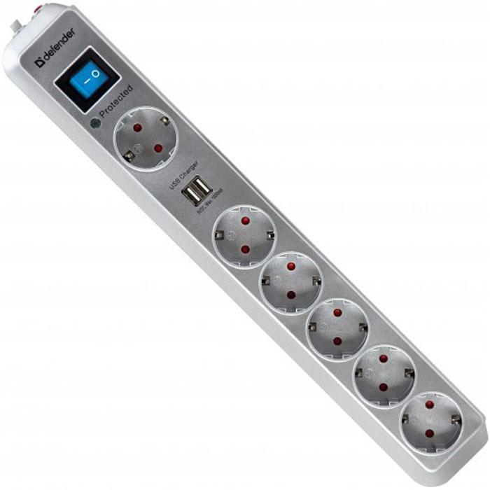 Defender DFS 501 сетевой фильтр на 6 розеток99051Сетевой фильтр DFS 501 защищает электронную технику от перегрузок по току, короткого замыкания, ВЧ и импульсных помех. Предназначен для подключения аудио- и видеотехники, компьютера и периферии. Максимальная защита от больших скачков напряжения благодаря газовому разряднику. Два USB-порта для удобной зарядки MP3-плееров и других гаджетов без использования ПК. Токовая защита надежно защищает подключенные устройства от возможных бросков тока и выхода из строя в момент зарядки. 6 розеток, одна из которых предназначена для подключения больших адаптеров. Защитные шторки от детей. Сетевой фильтр безопасно использовать в квартире с маленькими детьми. Корпус сделан из ударостойкого негорючего пластика ABS. Высокий показатель максимальной рассеиваемой энергии. Высокие показатели подавления ВЧ-помех. Индикатор состояния защиты и подключения к сети.Номинальное напряжение: 220 В / 50-60 ГцМаксимальная рассеиваемая энергия: 525 ДжЗащита цепи: фаза-ноль, фаза-земля, ноль-земляИндикатор состояния защитыФильтр ВЧ помехМаксимальное ослабление ВЧ-помех (0,15-100 МГц): 58 ДбЗащита от перегрузки и короткого замыкания Два USB порта Напряжение на USB портах: 5 ВМаксимальный ток USB порта: 1000 мАМногоразовая восстанавливаемая токовая защита USB портов Материал корпуса: специальный ударостойкий негорючий пластик ABS