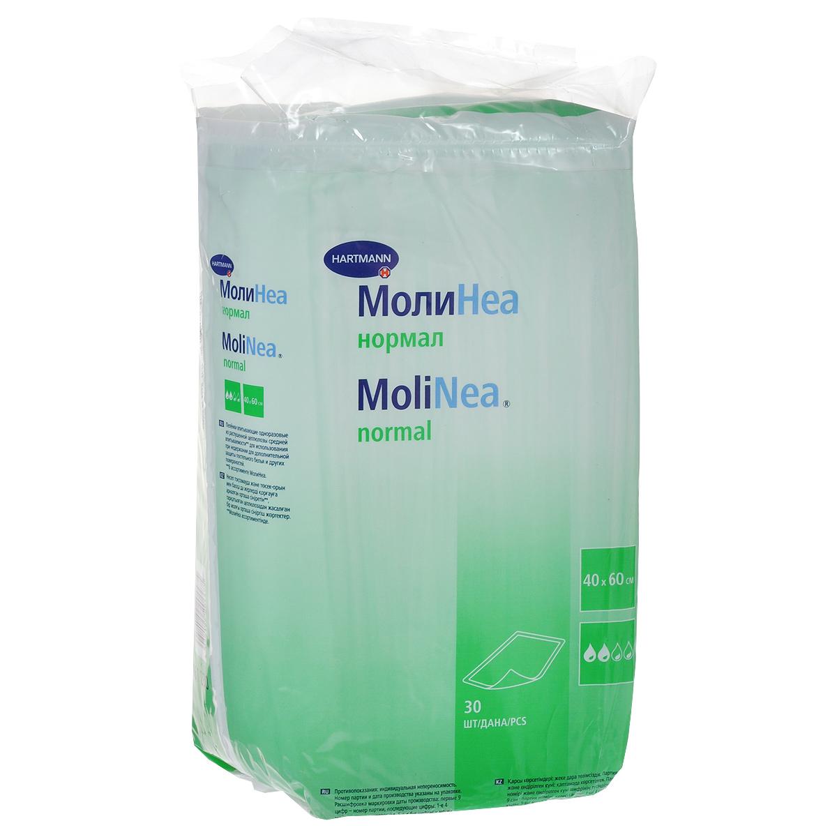 Одноразовые впитывающие пеленки Molinea (Молинеа) Normal, 40 см х 60 см, 30 шт одноразовые пеленки greenty гринти 60 см x 90 см 10 шт