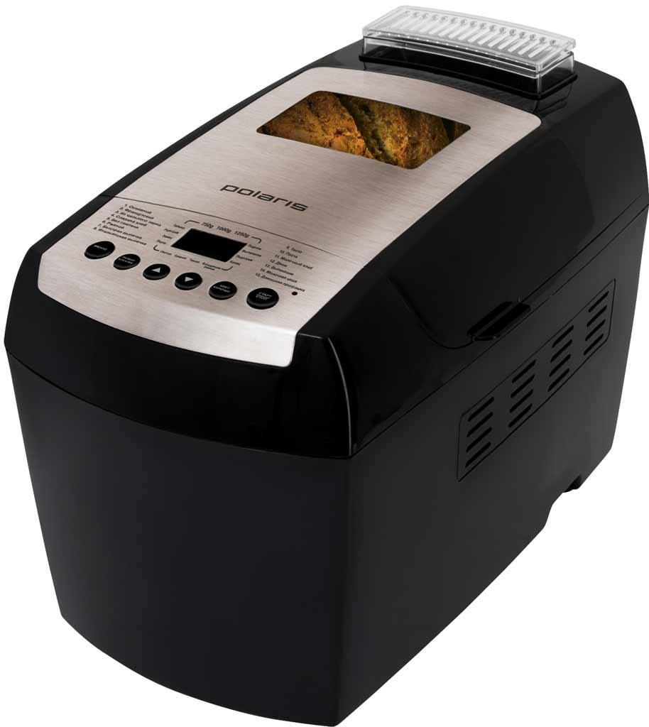 Polaris PBM 1501D хлебопечкаPBM 1501DХлебопечка Polaris PBM 1501D дает возможность выпекать натуральные хлебобулочные изделия в домашних условиях. Прибор оснащен мощностью в 890 Вт, чего вполне достаточно для выпекания самых разнообразного хлеба: обычного, цельнозернового, французского, сладкого, ржаного, итальянского, молочного и хлеба без глютена. Кроме того, Polaris PBM 1501Dумеет варить джем, кашу и замешивать тесто. Чаша для выпекания имеет антипригарное покрытие Teflon, к которому тесто не прилипает и не пригорает. Хлебопечка оборудована 14 автоматическими режимами и функцией «Домашняя программа», которая дает возможность устанавливать время и температуру вручную на всех этапах выпекания. Вы можете готовить по своим любимым рецептам и сохранять их в памяти устройства. Хлебопечка Polaris PBM 1501D оснащена таймером отсрочки до 15 часов и функцией поддержания температуры на 1 час. Для удобствав конструкции предусмотрен ЖК-дисплей. По истечению заданного времени хлебопечка издает звуковой сигнал, свидетельствующий об окончании выпекания. В комплекте с прибором Вы получаете книгу рецептов и прихватки в подарок!