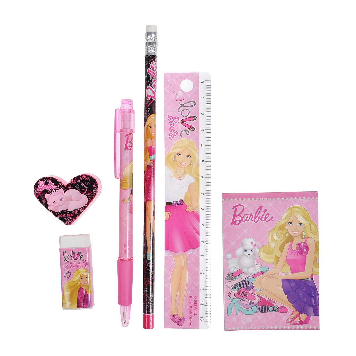 Канцелярский набор  Barbie , 7 предметов -  Канцелярские наборы