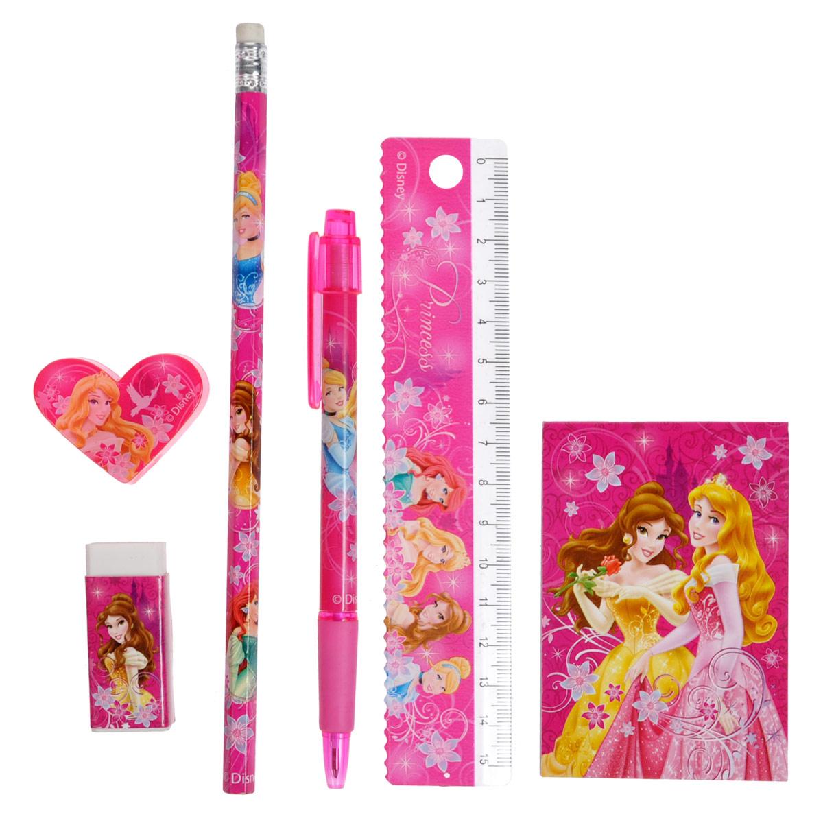 Канцелярский набор Princess, 7 предметовPRAB-US1-75409-HКанцелярский набор Princess станет незаменимым атрибутом в учебе любой школьницы.Он включает в себя пластиковый пенал, чернографитный карандаш с ластиком, автоматическую ручку, ластик, точилку, пластиковую линейку 15 см и небольшой блокнотик. Пенал снабжен поднимающейся подставкой для пишущих принадлежностей. Он раскрывается в центре, секции разворачиваются, и пенал можно использовать в качестве стакана для канцелярских принадлежностей.Ручка снабжена прорезиненной вставкой в области захвата, подача стержня производится путем нажатия на кнопку в верхней части ручки. Блокнотик снабжен картонной обложкой, внутренний блок содержит листы с печатью. Все предметы набора оформлены изображениями диснеевских принцесс Золушки, Белль, Ариэль и Авроры.
