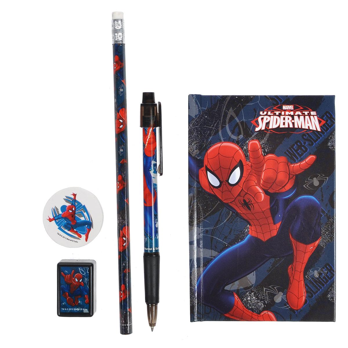 Канцеляркий набор Spider-man, 5 предметовSMAB-US1-360Канцелярский набор Spider-man станет незаменимым атрибутом в учебе любого школьника.Он включает в себя блокнот, чернографитный карандаш с ластиком, точилку, круглый ластик и автоматическую ручку. Блокнот снабжен твердой обложкой, внутренний блок содержит листы в линейку с печатью. Ручка снабжена прорезиненной вставкой в области захвата, подача стержня производится путем нажатия на кнопку в верхней части ручки.Все предметы набора оформлены изображениями Человека-Паука.
