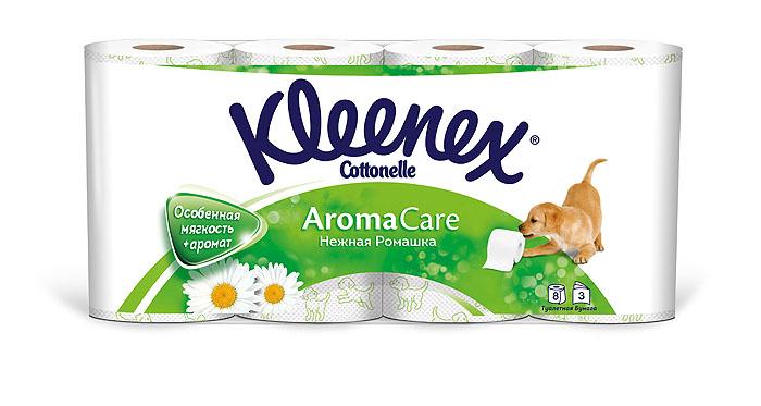 """Туалетная бумага Kleenex """"Нежная Ромашка"""", трехслойная, цвет: белый, 8 рулонов"""