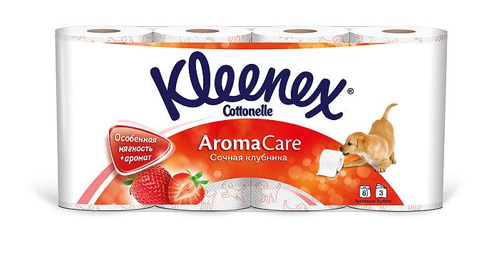 Туалетная бумага Kleenex Aroma Care. Сочная клубника, трехслойная, цвет: белый, розовый, 8 рулонов kleenex салфетки