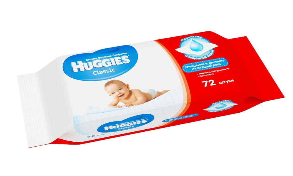 Влажные салфетки для детей Huggies Classic, 72 шт huggies детские влажные салфетки classic 128 шт