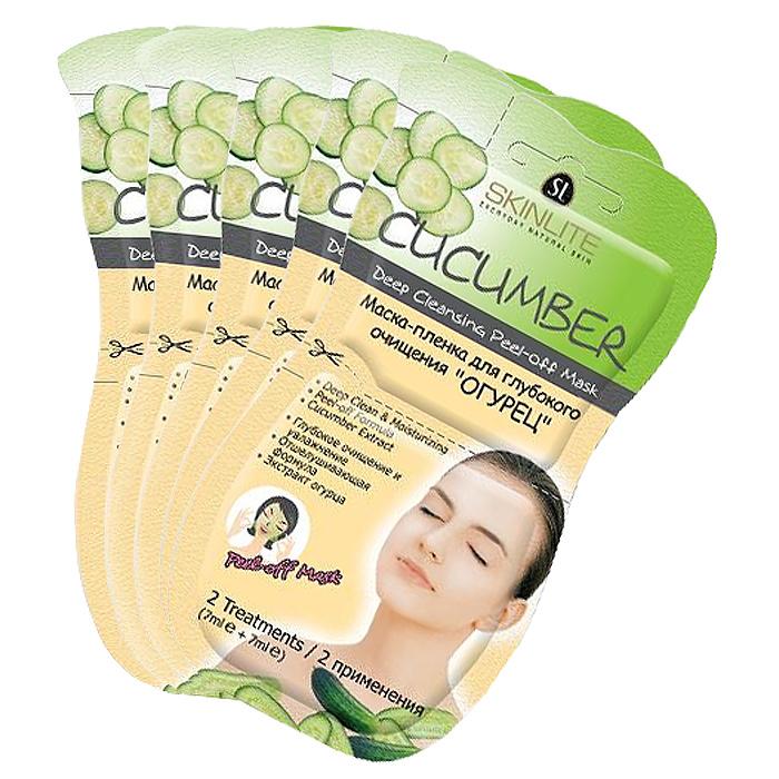 Skinlite Набор масок-пленок для лица Огурец, для глубокого очищения, 5 шт маска с коллагеном skinlite огурец увлажняющая для всех типов кожи 15 шт