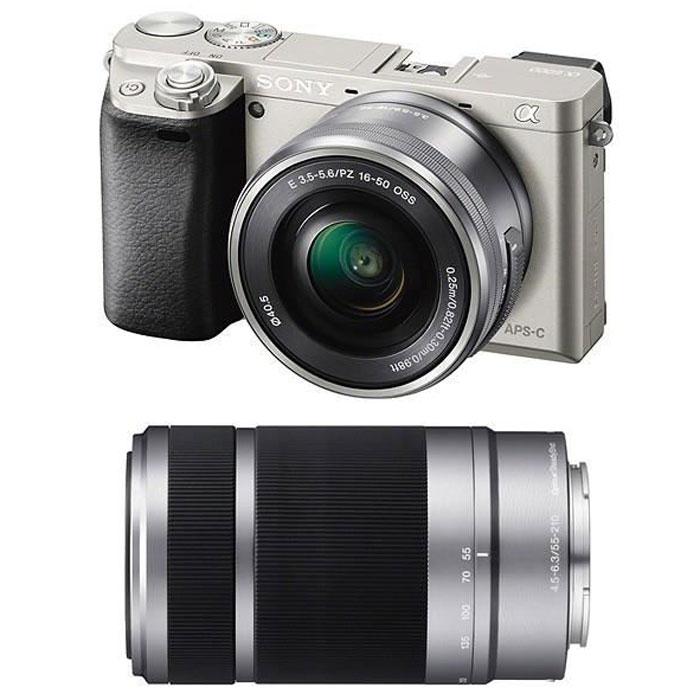 Sony Alpha A6000Y Kit 16-50 mm + 55-210 mm, Silver цифровая фотокамераILCE6000YS.CECSony Alpha A6000 - фотокамера со сменными объективами объединяет в себе сильные стороны фазового иконтрастного автофокуса.Технология 4D FOCUS обеспечивает непревзойденную работу системы автофокуса в четырех измерениях:широкая зона охвата (2 измерения по горизонтали и вертикали), скорость работы автофокуса (3-е измерение,глубина) и следящий автофокус с упреждением (4-е измерение, время). Система автофокуса камеры A6000работает быстрее, чем на цифровых зеркальных камерах, а потому вы не упустите ни единого момента. Теперьвы также можете подобрать цвет камеры под свой индивидуальный стиль. Скорость 0,06 секунды гарантируетполучение идеальных снимков в любых условиях: на семейных событиях, спортивных мероприятиях или наприроде.Качественная матрицаСекрет очень прост — чем крупнее матрица, тем крупнее формат изображения. Камера ?6000 превосходитмногие модели в своей категории: матрица типа APS-C в 1,6 раза крупнее матриц типа 4/3 и в 13 раз — матрицтипа 1/2.3 обычных компактных цифровых камер. В результате каждый снимок удивляет поразительнымкачеством. Новый процессор работает в 3 раза быстрее предыдущих моделей. BIONZ X точно захватываеттекстуры, уменьшает размытие деталей и даже устраняет шум в конкретных областях для создания четких фото-и видеоизображений. Необычайно высокий диапазон ISO позволяет делать естественные и детальные снимкипри низком освещении или при съемке в помещении без вспышки.Кинематографическая съемкаБлагодаря разрешению Full 1080 HD 60p или 24p вам доступна художественная видеосъемка движения «как накинопленке». Автофокусировка по глазам и функция фиксации позволяют камере самостоятельнонастраивать фокусировку, что дает вам возможность сосредоточиться на содержании сцены. «Заморозьте»объект съемки на скорости 11 кадров/с и получите эффектные кадры нужных моментов.OLED Tru-Finder — профессиональный инструмент A6000, обрабатывающий большие объемы данных в реальномврем