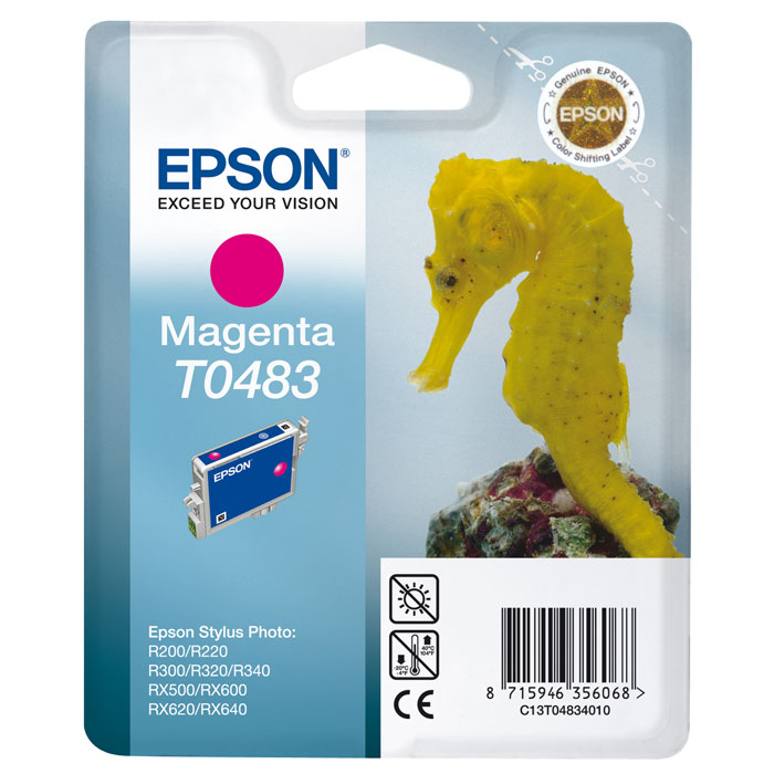 Epson T0483 (C13T04834010), Magenta картридж для R200/R300/RX500/RX600C13T04834010Картридж Epson T048 с цветными чернилами для струйной печати.