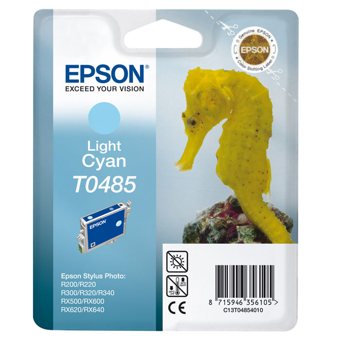 Epson T0485 (C13T04854010), Light Cyan картридж для R200/R300/RX500/RX600C13T04854010Картридж Epson T048 с цветными чернилами для струйной печати.