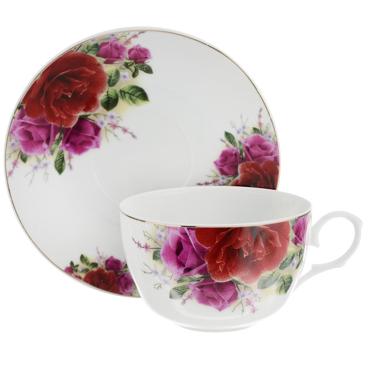 Набор чайный Briswild Роза Патио, 2 предмета523-096Чайный набор Briswild Роза Патио состоит из чашки и блюдца. Изделия выполнены из высококачественного фарфора и оформлены красочным изображением розы. Изящный набор красиво оформит стол к чаепитию и станет приятным подарком к любому случаю. Не использовать в микроволновой печи. Не применять абразивные моющие средства.