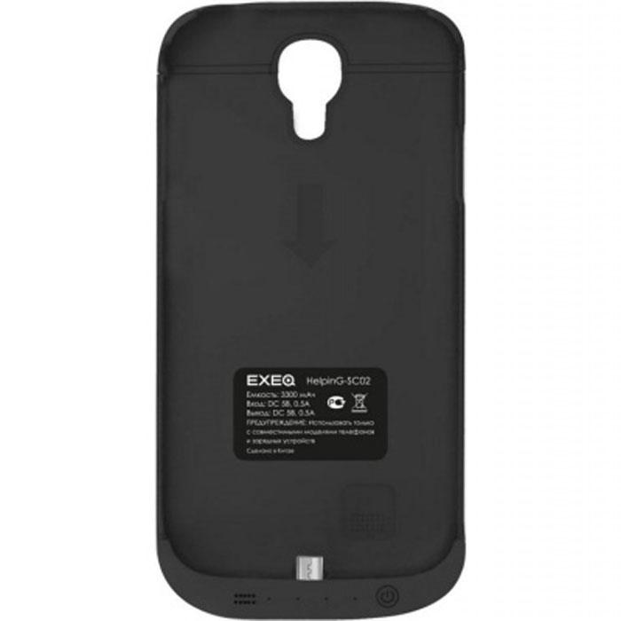 EXEQ HelpinG-SC02 чехол-аккумулятор для Samsung Galaxy S4, Black (3300 мАч, клип-кейс)HelpinG-SC02 BLExeq HelpinG-SС02 – компактный и элегантный аксессуар, удачно сочетающий в себе защитный чехол и дополнительную батарею для Samsung Galaxy S4. Лаконичный дизайн чехла позволит легко и быстро поместить смартфон в чехол, а также надежно защитить заднюю панель смартфона от царапин, загрязнений и ударов. Встроенный аккумулятор обеспечит своевременную подзарядку вашему смартфону. Также в конструкции Exeq HelpinG-SС02 имеется специальная откидывающаяся подставка-ножка, которая позволит удобно расположить телефон для просмотра фильма, чтения или набора текста или видео-общения по Skype.Зарядка чехла-аккумулятора Exeq HelpinG-SС02 происходит от зарядного устройства телефона, причем заряжать оба устройства можно не извлекая телефон из чехла. Так для зарядки телефона необходимо подсоединить зарядное устройства к чехлу и нажать кнопку питания на чехле, а для зарядки чехла необходимо просто подсоединить зарядное устройство - и зарядка начнется автоматически. Аналогично происходит и подключение телефона к компьютеру – чехол-аккумулятор Exeq HelpinG обеспечивает идеальную передачу данных между смартфоном и другими электронными устройствами.