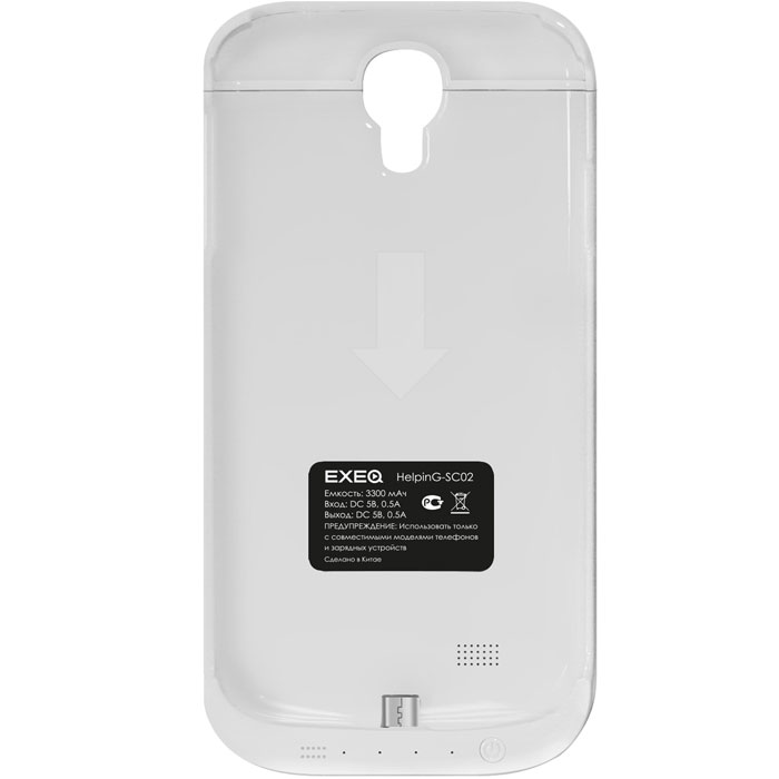 EXEQ HelpinG-SC02 чехол-аккумулятор для Samsung Galaxy S4, White (3300 мАч, клип-кейс) exeq helping sf02 чехол аккумулятор для samsung galaxy s3 mini white 1900 мач флип кейс