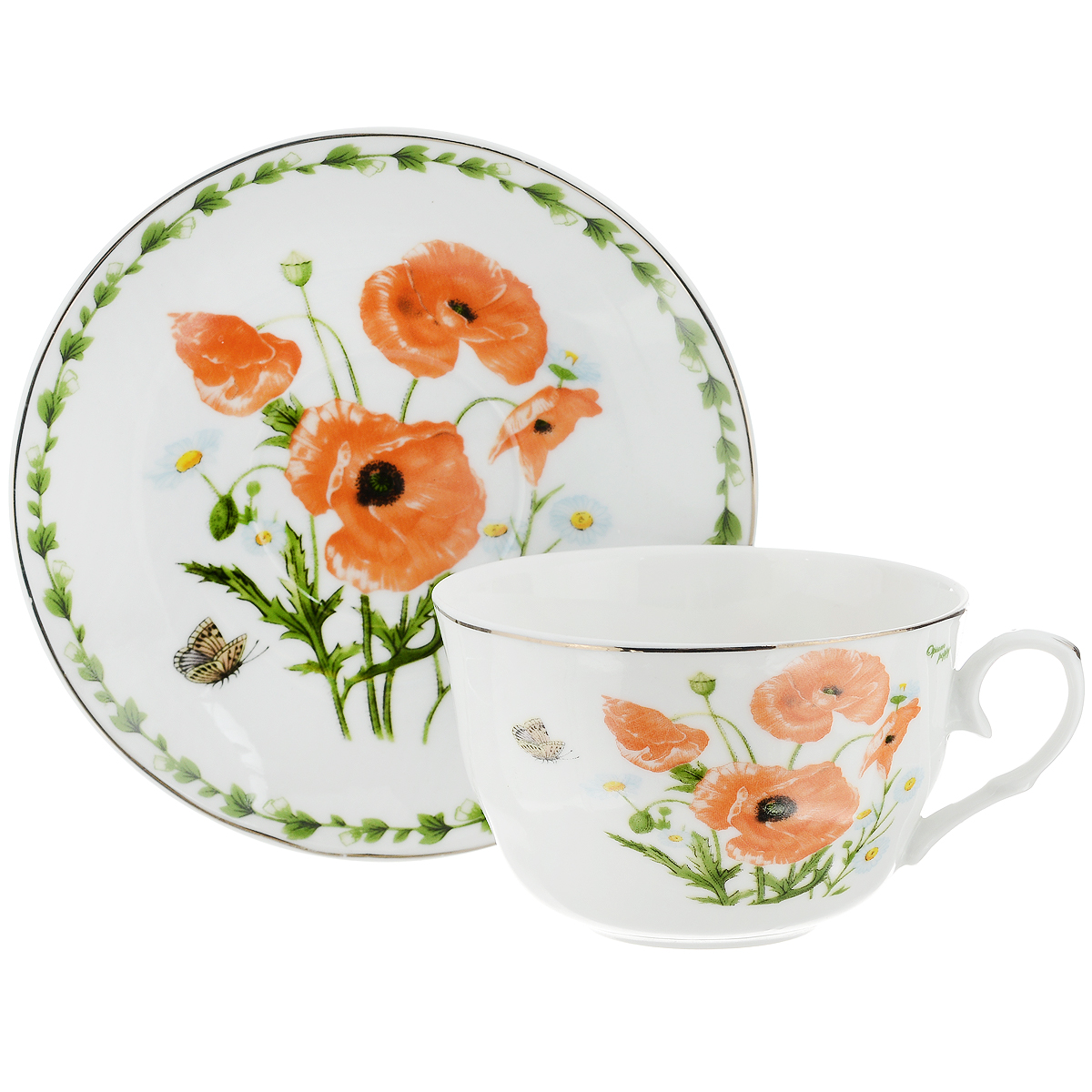 Набор чайный Briswild Маки на поляне, 2 предмета