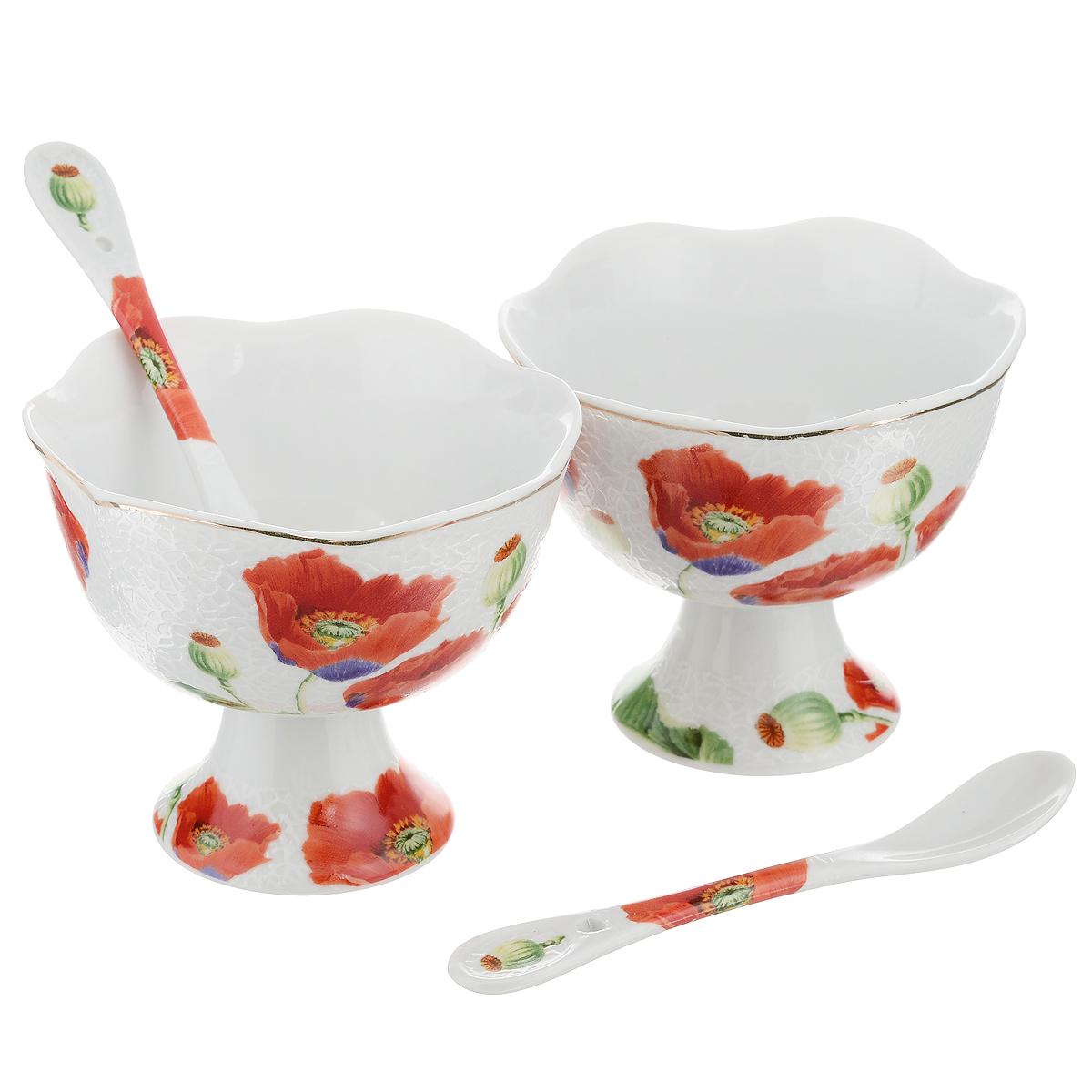 Набор креманок Briswild Цветы мака, с ложками, 4 предмета545-375Набор Briswild Цветы мака состоит из двух креманок и двух ложек, выполненных из высококачественного фарфора и украшенных изображением цветов. Креманки прекрасно подойдут для подачи десертов и мороженого. Такой набор украсит любой праздничный стол, а также может стать отличным подарком к любому празднику.Не использовать в микроволновой печи. Не применять абразивные моющие средства.
