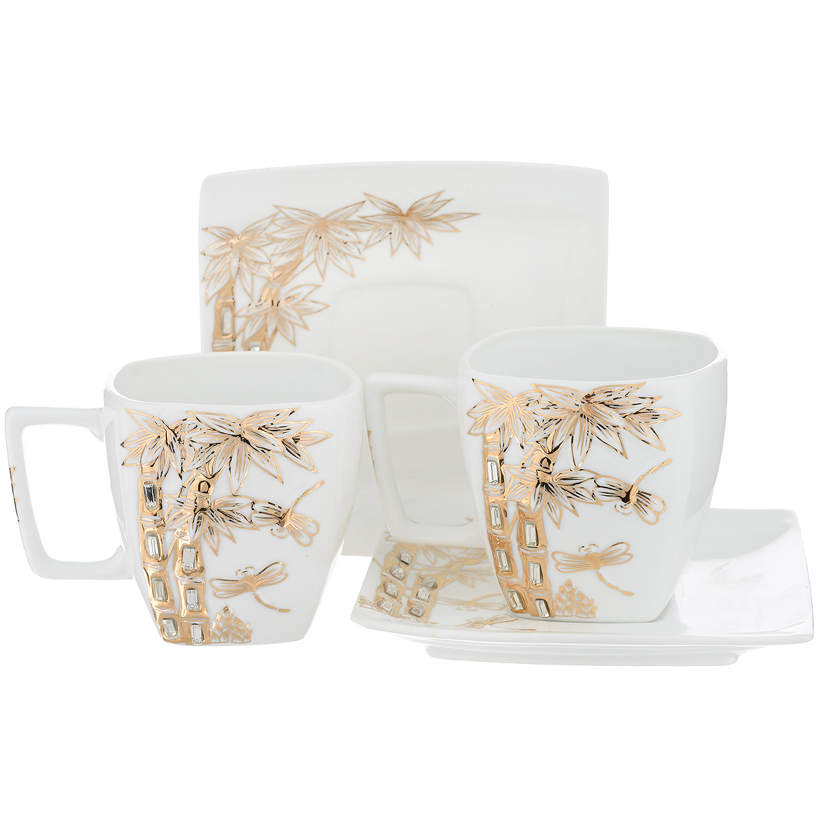 Набор чайный Briswild Золотые пальмы, 4 предмета595-216Чайный набор Briswild Золотые пальмы, выполненный из высококачественного фарфора, состоит из двух чашек и двух блюдец. Изделия декорированы золотистым рельефным изображением пальм и стразами. Элегантный дизайн и совершенные формы предметов набора привлекут к себе внимание и украсят интерьер вашей кухни. Чайный набор Briswild Золотые пальмы идеально подойдет для сервировки стола и станет отличным подарком к любому празднику.Чайный набор упакован в подарочную коробку. Внутренняя часть коробки задрапирована белым атласом. Не использовать в микроволновой печи. Не применять абразивные чистящие вещества.