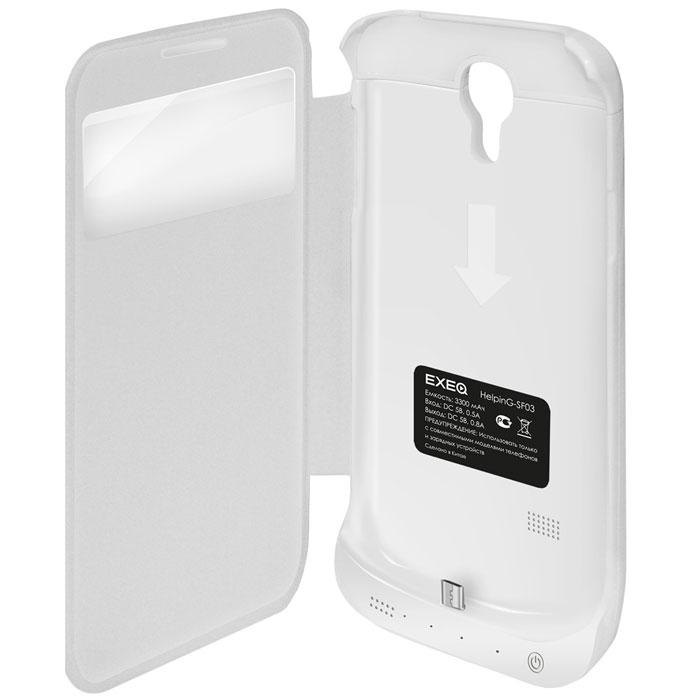 EXEQ HelpinG-SF03 чехол-аккумулятор для Samsung Galaxy S4, White (3300 мАч, Smart cover, флип-кейс)HelpinG-SF03 WHExeq HelpinG-SF03 оборудован встроенным аккумулятором, обеспечивая своевременную подзарядку, чехол, тем самым, способен обеспечить и большую работоспособность Вашему смартфону.Стильный дизайн Exeq HelpinG-SF03 придется по вкусу многим владельцам Samsung Galaxy S4, а его конструкция обеспечит надежную защиту смартфону даже во время самого активного использования. В частности для защиты дисплея чехол оснащен специальной откидной крышкой Smart-cover – она не только защитит дисплей от загрязнений, пыли и царапин, но позволит регулировать работу экрана. Так при открытии крышки чехла экран смартфона автоматически будет включаться, при закрытии крышки чехла экран автоматически будет выключаться. Еще в конструкции чехла предусмотрена откидывающаяся подставка, которая позволит удобно разместить телефон при просмотре видео или чтении электронных книг.Зарядка чехла-аккумулятора Exeq HelpinG-SF03 происходит от зарядного устройства телефона, причем заряжать оба устройства можно не извлекая телефон из чехла. Так для зарядки телефона необходимо подсоединить зарядное устройство к чехлу и нажать кнопку питания на чехле, а для зарядки чехла необходимо просто подсоединить зарядное устройство - и зарядка начнется автоматически.