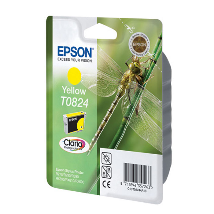 Epson T0824 (C13T11244A10), Yellow картридж для R270/R290/RX590/T50/TX650C13T11244A10Картридж Epson с чернилами для струйной печати.