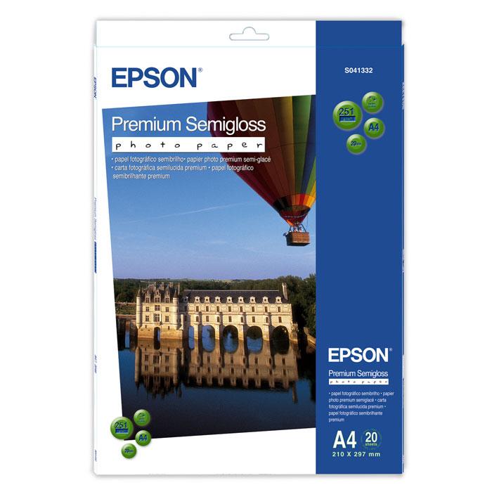 Epson Premium Semiglossy 251/A4/20л, полуглянцевая C13S041332C13S041332Высококачественный материал Epson Premium Semigloss Photo на бумажной основе с полуглянцевым полимерным покрытием. Предназначен для печати изображений профессионального качества - фотографий, интерьерной графики.Яркость: 92% Прозрачность: 96%
