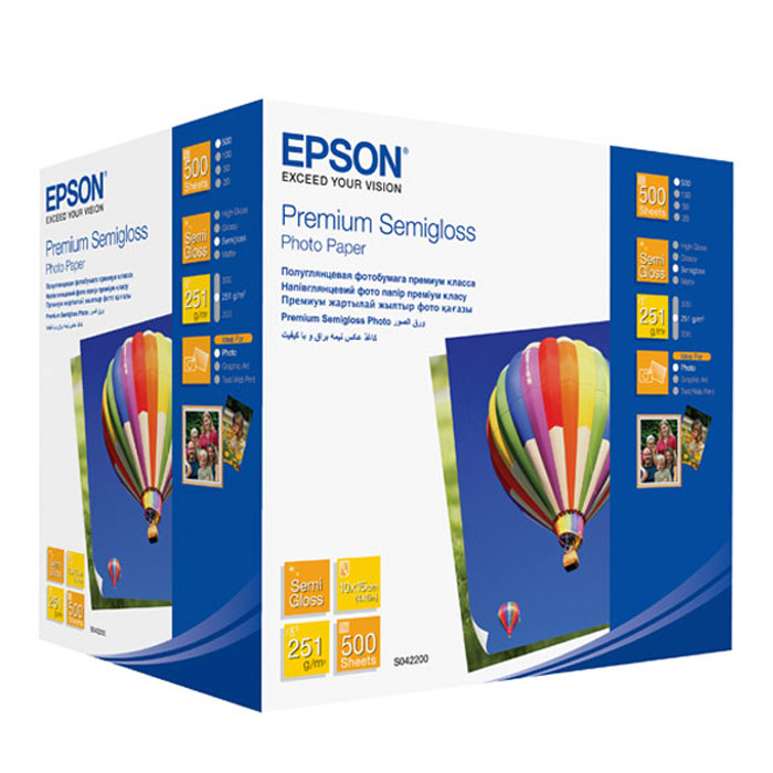 Epson Premium Semiglossy Photo 251/10x15/500л, полуглянцевая C13S042200