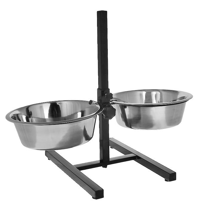 Подставка для собак I.P.T.S., с двумя мисками, регулируемая, 2 х 4,7 л16620/653562Подставка для собак I.P.T.S. является регулируемой, поэтому вы можете настроить высоту миски на оптимально подходящий уровень для собаки. Это позволяет стоять вашей собаке в более расслабленной позе, что способствует улучшению пищеварения и уменьшению напряжения на шею и суставы. Миски выполнены из нержавеющей стали. Миски гигиеничны и легко моются. Устойчивая подставка на нескользящем основании.Максимальная высота мисок: 54 см.Диаметр миски: 28 см.