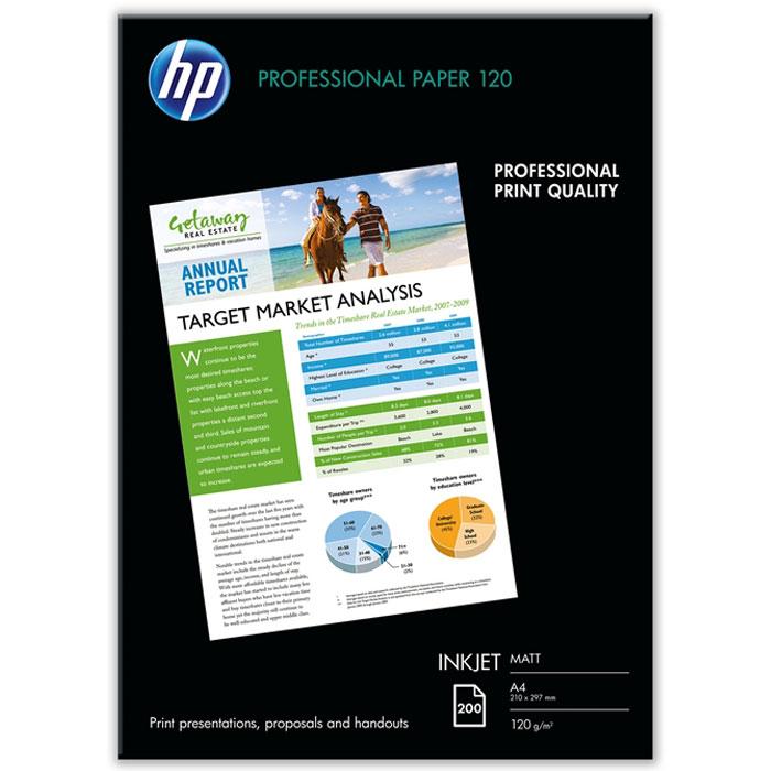 HP 120/A4/200л матовая двухсторонняя профессиональная бумага для струйной печати (Q6593A)Q6593AПрофессиональная бумага HP 120/A4/200л (Q6593A) с высококачественной матовой двусторонней отделкой для получения ярких цветов и чёткого текста. Матовая профессиональная бумага НР плотностью 120 г/м2 для струйной печати является предпочтительным решением НР для создания презентаций и других важных деловых документов.