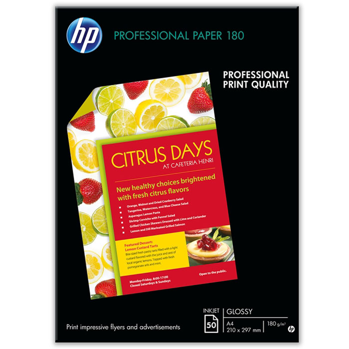 HP 160/A4/50л глянцевая двухсторонняя бумага для струйной печати брошюр и рекламы, A4, 50л, 160 (C68C6818AГлянцевая профессиональная бумага HP 160/A4/50л (C6818A) для струйной печати имеет повышенную плотность и двустороннее ярко-белое покрытие. Она обеспечивает быструю, удобную и экономичную малотиражную печать собственных рекламных материалов, брошюр и рекламных листовок.Глянцевая профессиональная бумага HP для струйной печати – это экономия при печати малых объемов. Улучшенные качество и надежность печати на струйных принтерах HP. Идеальный выбор для печати рекламной литературы, деловых фотографий, документов с изображениями и других маркетинговых материалов. Высокая плотность (180 г/м2) позволяет создавать материалы для рассылки по почте и упрощает складывание листов. Двустороннее покрытие для двусторонней печати и повышенная непрозрачность для минимального просвечивания нанесённых изображений. Габариты печатных носителей: 210 x 297 мм