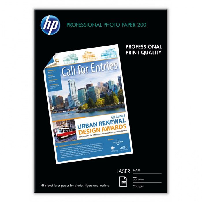 HP 200/A4/100л матовая фотобумага для лазерной печати (Q6550A)Q6550AМатовая профессиональная фотобумага HP для лазерной печати.Ярко-белая фотобумага формата A4 с двусторонним матовым покрытием для печати цветных фотографий непревзойденного качества. Благодаря этому, а также высокой плотности 200 г/м2, она является идеальным решением для печати своими силами насыщенных изображениями цветных документов профессионального качестваСверхгладкое матовое покрытие для получения потрясающих, насыщенных натуральных цветов. Возможность создания профессионально выглядящих фотографий и насыщенных фотографиями документов при помощи цветных лазерных принтеров или копиров. Ярко-белая отделка гарантирует превосходный контраст и реалистичную цветопередачуЭта прочная бумага плотностью 200 г/м2 придает Вашим фотографиям и маркетинговым материалам ощущение тяжести и солидности. Сверхгладкая матовая поверхность создает также впечатление качества, которое трудно не заметитьВысокая степень непрозрачности для создания одно- или двусторонних документов без просвечивания наносимых изображений. Идеальное решение для создания эффективных по воздействию документов особой важности, ориентированных на клиентов (брошюры и другие торговые печатные материалы)