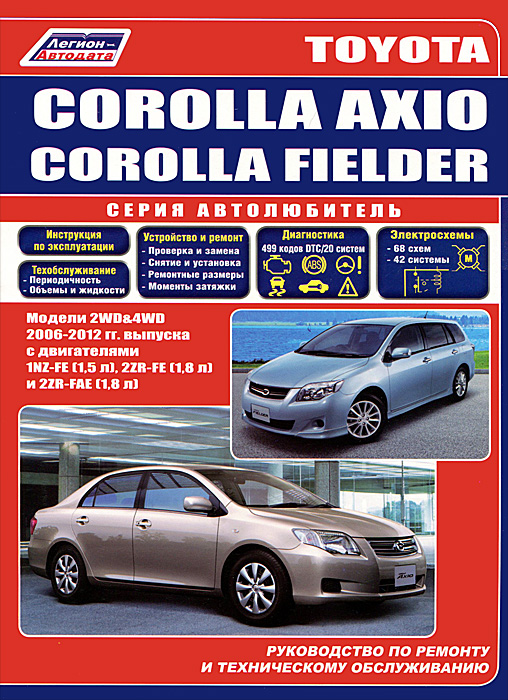 Toyota Corolla Axio и Toyota Corolla Fielder 2006-2012 г.в. Руководство по ремонту, эксплуатации и техническому обслуживанию toyota toyoace dyna 200 300 400 модели 1988 2000 годов выпуска с дизельными двигателями руководство по ремонту и техническому обслуживанию