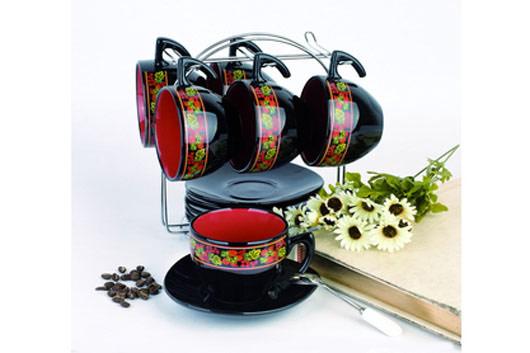 Набор кружек Hunan Liling Huawang Ceramics, на подставке, 12 предметов. HW S026-KLHW S026-KLНабор кружек Hunan Liling Huawang Ceramics состоит из 6 чашек, 6 блюдец и подставки. Изделия выполнены из высококачественной керамики, имеют яркий дизайн и размещены на металлической подставке. Такой набор прекрасно подойдет как для повседневного использования, так и для праздников.