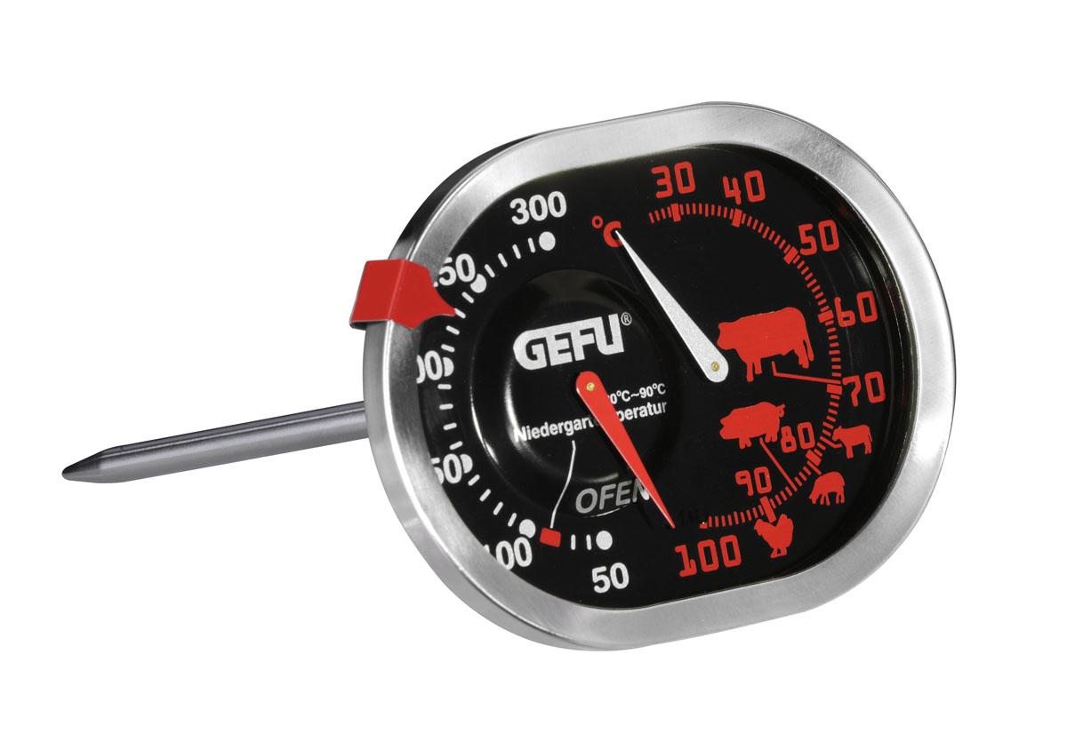 Термометр для жарки Gefu, цвет: серебристый21800Термометр Gefu позволяет одновременно определять температуру духовки и запекаемого в ней блюда. Температура духовки определяется в диапазоне от 50 до 300°C, продуктов - от 30 до 100°C.Такой термометр займет достойное место среди аксессуаров на вашей кухне. Характеристики: Материал:нержавеющая сталь, пластик. Цвет:серебристый.Размер термометра:8,5 см х 12,5 см х 6,5 см. Размер упаковки:11,5 см х 15,5 см х 7,5 см. Производитель: Германия. Артикул: 21800.