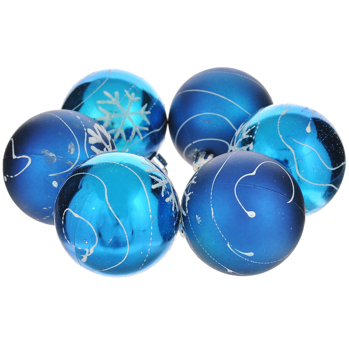 Набор новогодних подвесных украшений Шар, цвет: синий, диаметр 6 см, 6 шт. 3552835528Набор новогодних подвесных украшений Шар прекрасно подойдет для праздничного декора новогодней ели. Состоит из шести шаров. Елочная игрушка - символ Нового года. Она несет в себе волшебство и красоту праздника. Создайте в своем доме атмосферу веселья и радости, украшая новогоднюю елку нарядными игрушками, которые будут из года в год накапливать теплоту воспоминаний. Коллекция декоративных украшений принесет в ваш дом ни с чем несравнимое ощущение волшебства! Откройте для себя удивительный мир сказок и грез. Почувствуйте волшебные минуты ожидания праздника, создайте новогоднее настроение вашим дорогим и близким.