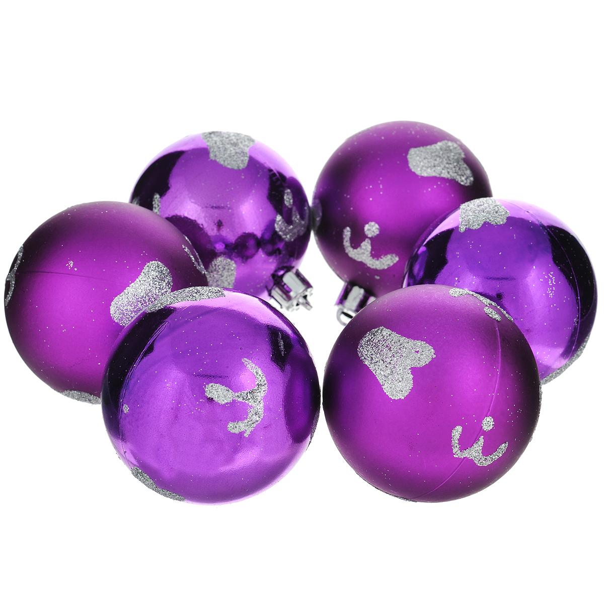 """Набор новогодних подвесных украшений """"Шар"""", цвет: фиолетовый, диаметр 6 см, 6 шт. 35525"""