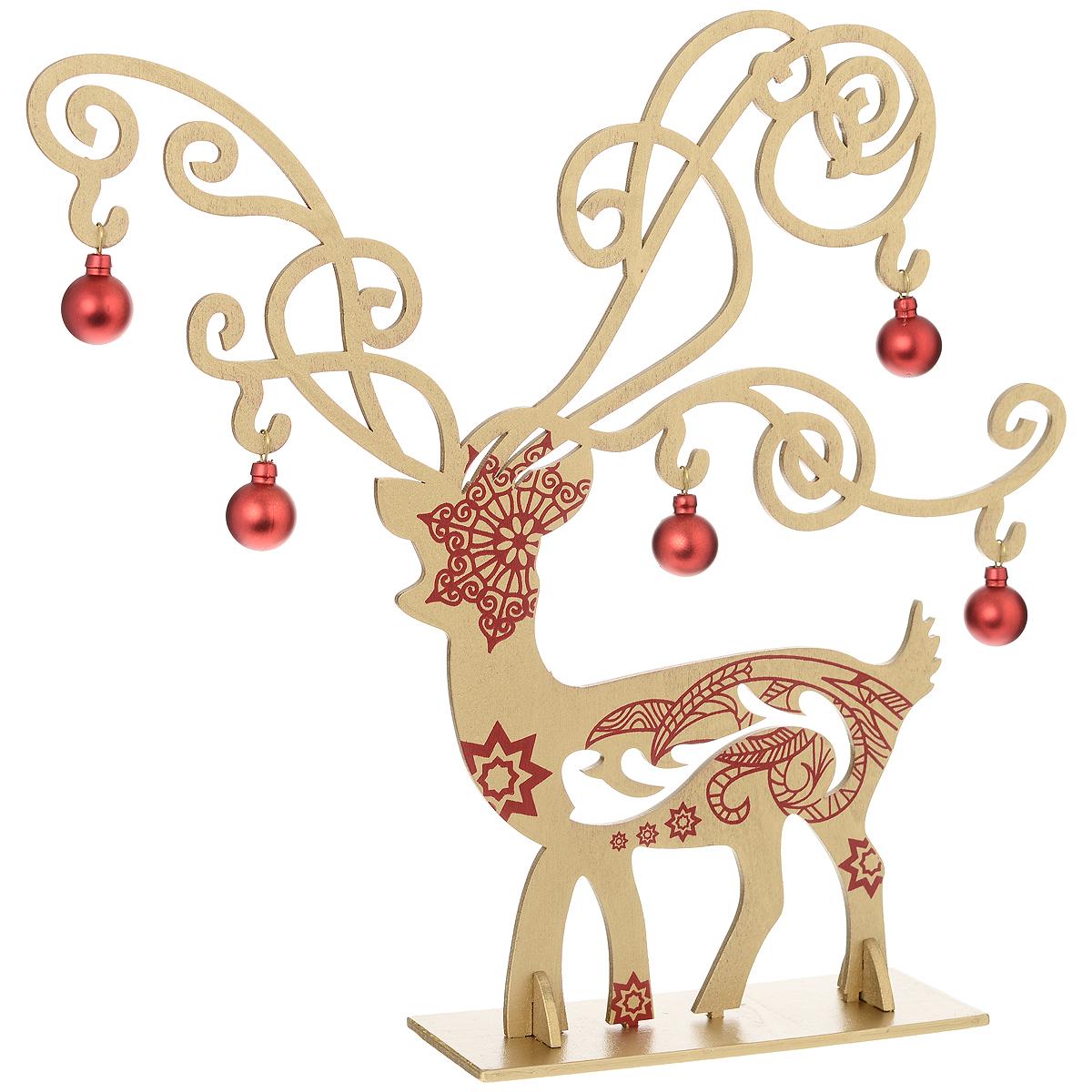 Украшение новогоднее Золотой олень. 3569435694Оригинальное сборное новогоднее украшение Золотой олень выполнено из древесины тополя в виде оленя, декорированного красными узорами. Олень помещается на одну основную и две вспомогательные подставки. Красные шары можно повесить на его красивые ветвистые рога. Это украшение может занять достойное место в вашем доме в праздничные дни. Новогодние украшения приносят в дом волшебство и ощущение праздника. Создайте в своем доме атмосферу веселья и радости, украшая всей семьей новогоднюю елку нарядными игрушками, которые будут из года в год накапливать теплоту воспоминаний.Коллекция декоративных украшений из серии Magic Time принесет в ваш дом ни с чем несравнимое ощущение волшебства!Комплектация: - украшение Золотойолень (1 шт.), - красные шары (5 шт.), - основная подставка (1 шт.), - вспомогательные подставки (2 шт.).Размер оленя: 28 см х 30 см х 0,5 см. Размер подставки: 13,5 см х 6 см х 0,5 см. Диаметр шаров: 2 см.