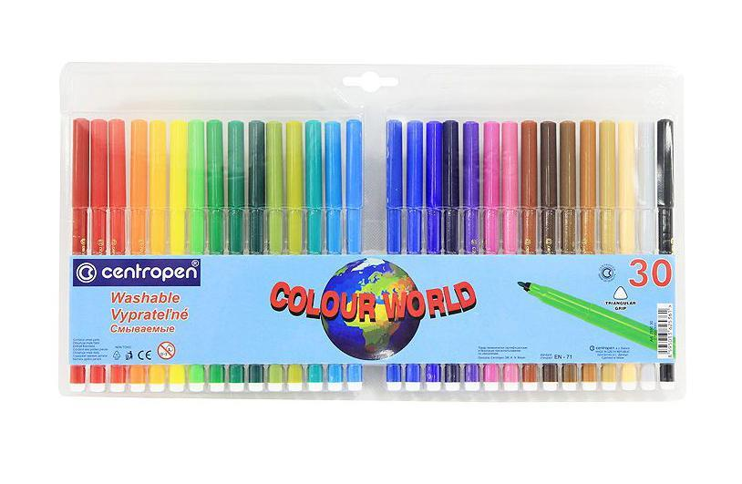 Набор смываемых фломастеров Colour World, 30 цветов7550/30 TPОт производителяЦветные смываемые фломастерыColour World для письма и рисования с вентилируемым колпачком и треугольной зоной захвата. Фломастеры легко смываются с рук даже холодной водой и очень легко отстирываются. Корпус выполнен из полипропилена, поэтому фломастеры сохраняют свои свойства, не высыхая, минимум 3 года. Диаметр острия 2 мм. В наборе 30 ярких цветов. Характеристики: Длина фломастера: 15 см. Размер упаковки:35 см х 19 см х 1 см.