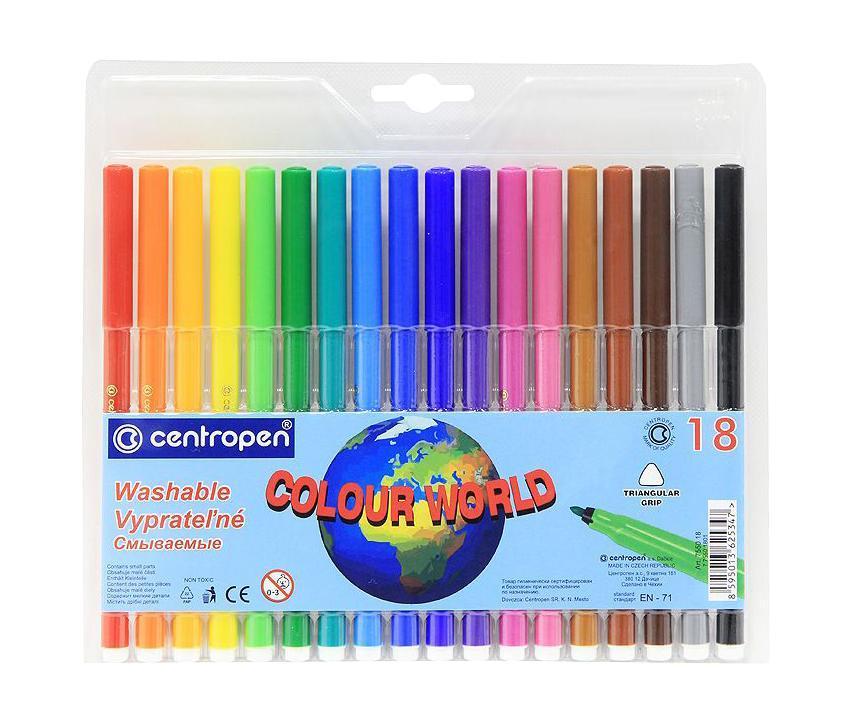 Centropen Набор смываемых фломастеров Colour World 18 цветов7550/18 TPОт производителяЦветные смываемые фломастеры Colour World для письма и рисования с вентилируемым колпачком и треугольной зоной захвата. Фломастеры легко смываются с рук даже холодной водой и очень легко отстирываются. Корпус выполнен из полипропилена, поэтому фломастеры сохраняют свои свойства, не высыхая, минимум 3 года. Диаметр острия 2 мм. В наборе 18 ярких цветов. Характеристики: Длина фломастера: 15 см. Размер упаковки:21 см х 19 см х 1 см.