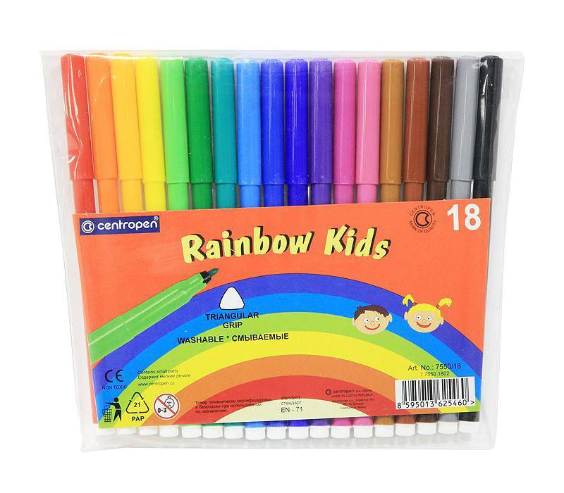 Набор смываемых фломастеров Rainbow Kids, 18 цветов7550/18 От производителяЦветные смываемые фломастерыRainbow Kids для письма и рисования с вентилируемым колпачком и треугольной зоной захвата. Фломастеры легко смываются с рук даже холодной водой и очень легко отстирываются. Корпус выполнен из полипропилена, поэтому фломастеры сохраняют свои свойства, не высыхая, минимум 3 года. Диаметр острия 2 мм. В наборе 18 ярких цветов. Характеристики: Длина фломастера: 15 см. Размер упаковки:18 см х 16 см х 0,5 см.