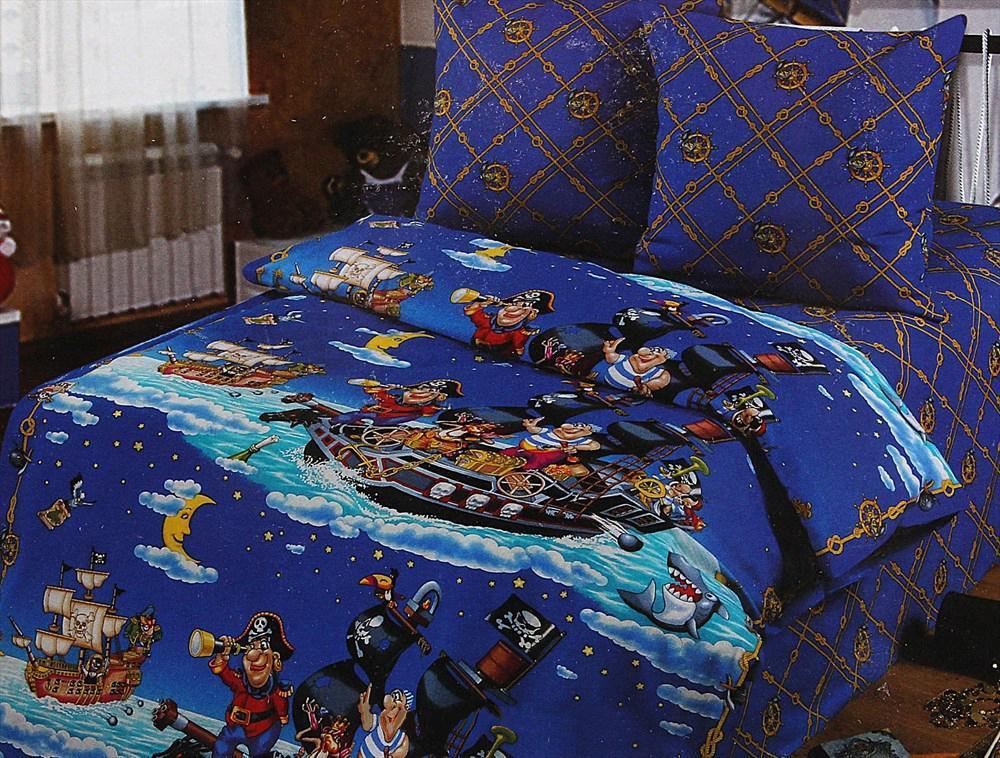 Постельное белье Арт Постель Пираты (1,5 спальный КПБ, бязь-люкс, наволочки 70х70) комплект белья арт постель березовая роща семейный кпб из 5 предметов бязь люкс наволочки 70х70