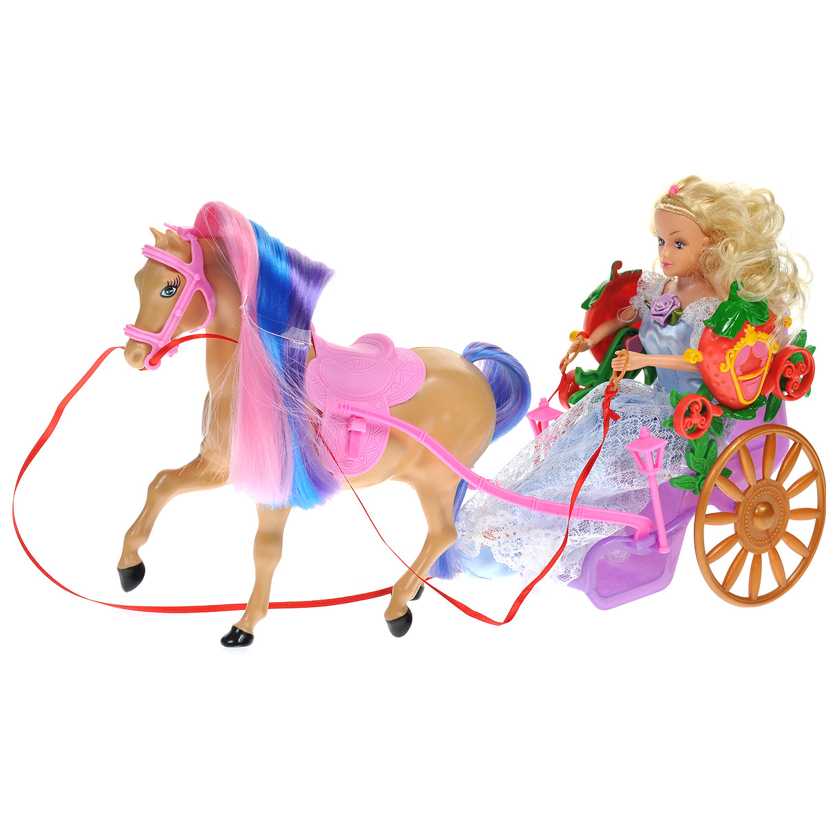 WSBD World Игровой набор с куклой Лошадь с повозкой и куклой wsbd world конструктор музыкальный поезд из шестеренок