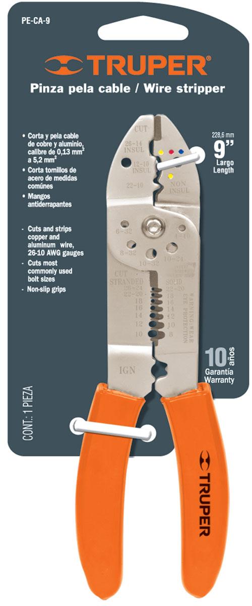 Инструмент для зачистки и обрезки проводов Truper, 23 смPE-CA-9Инструмент для зачистки и обрезки проводов Truper. 7 размеров для зачистки. 4 размера для обжима. Сатинированное покрытие металлической части, которое в 3 раза лучше защищает от коррозии. Обрезиненные рукоятки обеспечивают надежный хват.