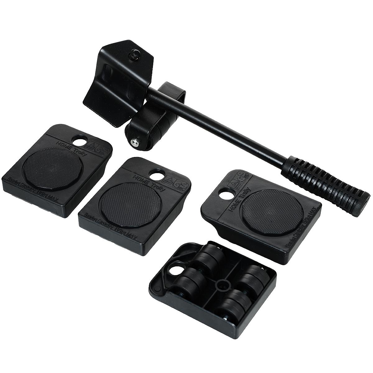 Набор для перемещения мебели Bradex Транспортер, цвет: черный, 5 предметовTD 0089Набор для перемещения мебели Bradex Транспортер, изготовленный из металла и ПВХ, предназначен для самостоятельной перестановки мебели. Вам понадобится лишь приподнять мебель с помощью рычага и подложить под каждый угол транспортную платформу с вращающимися колесиками. После установки мебели на платформы ее можно передвигать в любом направлении.Благодаря Транспортеру, вы защитите мебель, пол и стены от повреждений, сэкономите время и сбережете здоровье. Мебельный транспортер подходит для линолеума, ковролина, паркета, ламината. Уникальная конструкция подъемного рычага и платформ из прочной закаленной стали позволяет поднимать даже тяжелую мебель со всем содержимым.В комплект входит: - 4 транспортировочные платформы каждая на 8 колесиках из сверхпрочного полиамида с вращающейся площадкой. Максимальная нагрузка на каждую платформу 100 кг. - Подъемный рычаг из качественной стали с прорезиненной ручкой. - Инструкция.