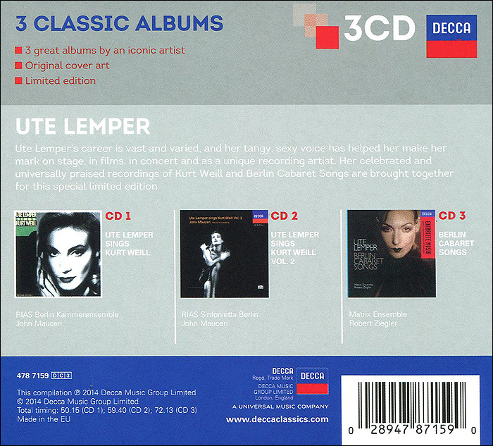 Ute Lemper.  3 Classic Albums.  Limited Edition (3 CD) Decca,ООО