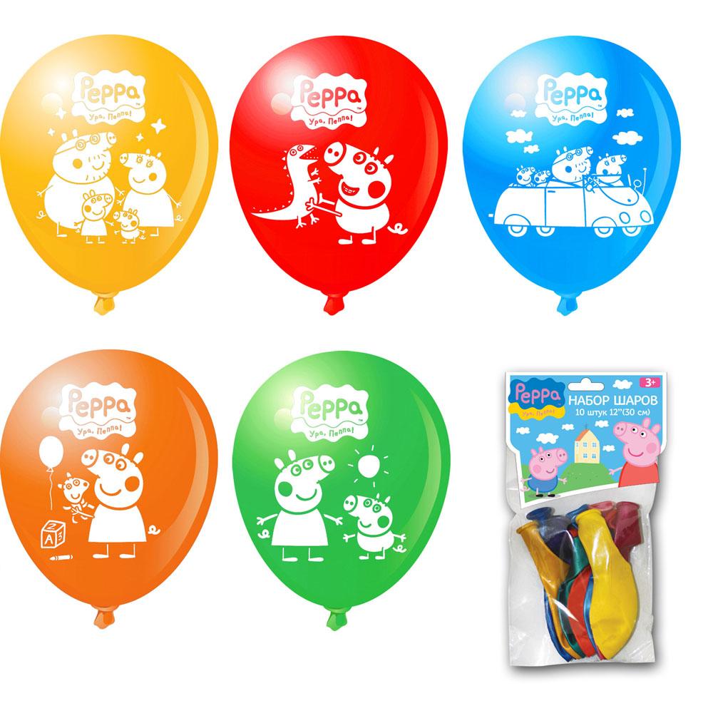 "Набор воздушных шаров ""Peppa Pig"", с рисунком, 10 шт, KDI Industries SND BHD"