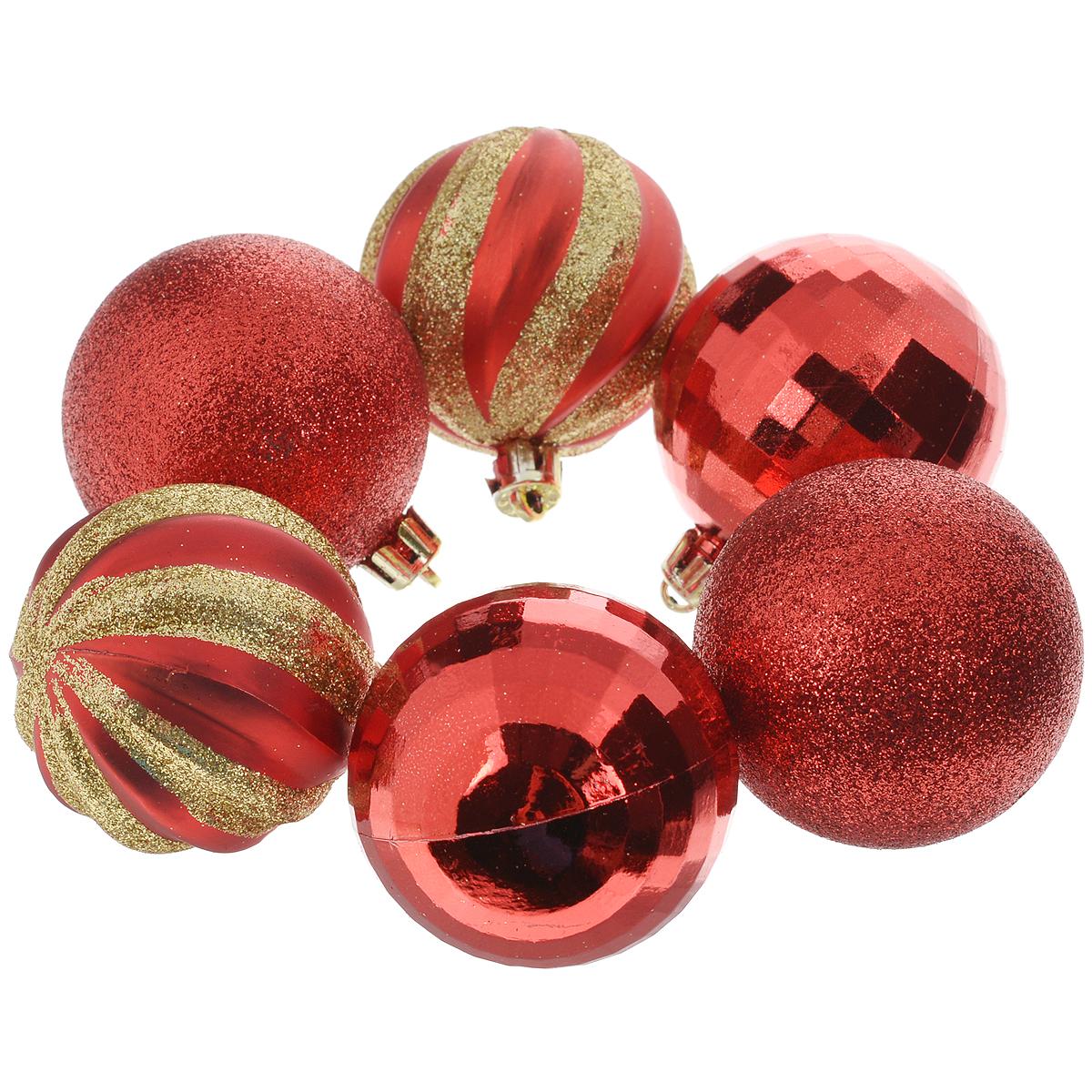 Набор новогодних подвесных украшений Шары, цвет: красный, 6 шт. 3549235492