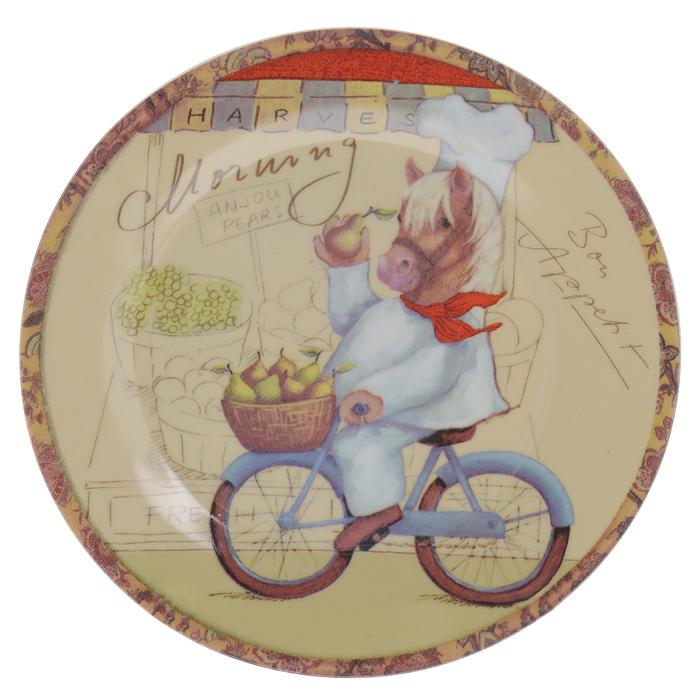 Тарелка декоративная Besko Доброго утра, с подставкой, диаметр 18 см515-488