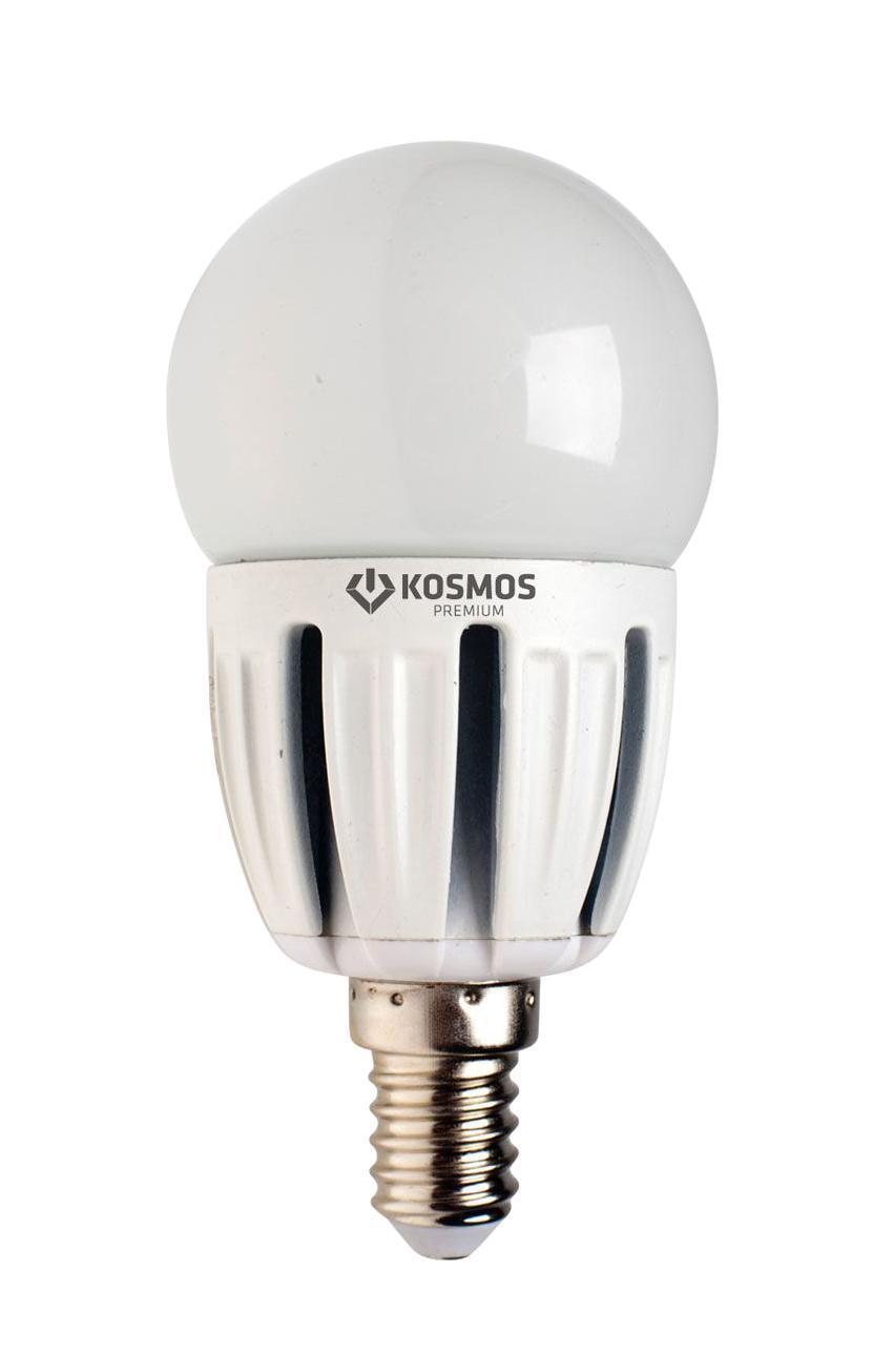 Светодиодная лампа Kosmos Premium, белый свет, цоколь Е27, 5W. KLED5wGL45230vE2745Kosmos Premium, белый свет, цоколь Е27, 5W. KLED5wGL45230vE2745Светодиодная лампа Kosmos Premium инновационный и экологичный продукт, специально разработанный для эффективной замены любых видов галогенных или обыкновенных ламп накаливания во всех типах осветительных приборов. Основные преимущества лампы Kosmos Premium: Служит 50000 часов, что в 50 раз дольше лампы накаливания (при работе 3 часа в день). Экономична - сберегает до 90% электроэнергии. Обладает высокой механической прочностью и вибростойкостью. Не искажает цвета. Благодаря применению чипов от мирового лидера Samsung, цветопередача приближена к идеальной. Устойчива к перепадам температуры (от -40°С до +50°С). Характеристики:Материал: пластик, металл, керамика.Потребляемая мощность: 5W.Цветность: 4500К (белый свет).Световой поток: 440 ЛМ.Диаметр лампы: 4,5 см.Высота лампы: 9,2 см.Напряжение: 220 V.Срок службы: до 50000 ч.Температура использования: -40°С - +50°С.Размер упаковки: 15,5 см х 12 см х 5 см.Гарантия производителя: 2 года.