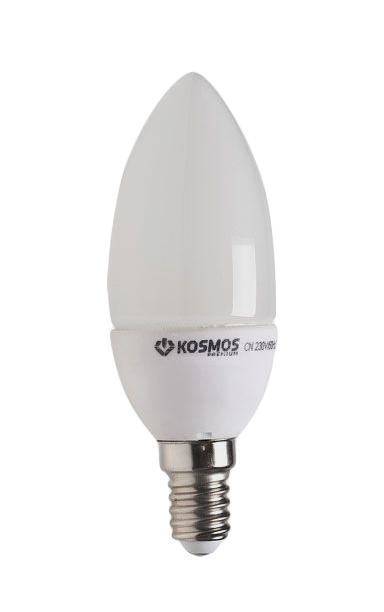 Светодиодная лампа Kosmos Premium, белый свет, цоколь Е27, 3W. KLED3wCN230vE2745KLED3wCN230vE2745Светодиодная лампа Kosmos Premium инновационный и экологичный продукт, специально разработанный для эффективной замены любых видов галогенных или обыкновенных ламп накаливания во всех типах осветительных приборов. Основные преимущества лампы Kosmos Premium: Служит 50000 часов, что в 50 раз дольше лампы накаливания (при работе 3 часа в день). Экономична - сберегает до 90% электроэнергии. Обладает высокой механической прочностью и вибростойкостью. Не искажает цвета. Благодаря применению чипов от мирового лидера Samsung, цветопередача приближена к идеальной. Устойчива к перепадам температуры (от -40°С до +50°С). Характеристики:Материал: пластик, металл, керамика.Потребляемая мощность: 3W.Цветность: 4500К (белый свет).Световой поток: 300 ЛМ.Диаметр лампы: 3,6 см.Высота лампы: 10,2 см.Напряжение: 220 V.Срок службы: до 50000 ч.Температура использования: -40°С - +50°С.Размер упаковки: 18 см х 12 см х 5 см.Гарантия производителя: 2 года.