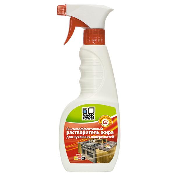 Растворитель жира для кухонных поверхностей Magic Power, 500 млMP-021Растворитель жира для кухонных поверхностей Magic Power эффективно удаляет жировые отложения со всех типов поверхностей на кухне. Обеспечивает антибактериальный эффект, уничтожая микроорганизмы и бактерии. Создает на кухне идеальные гигиенические условия. Не оставляет никаких следов на очищаемой поверхности. Безопасен для окружающей среды, биологически перерабатывается более чем на 90%. Без запаха.