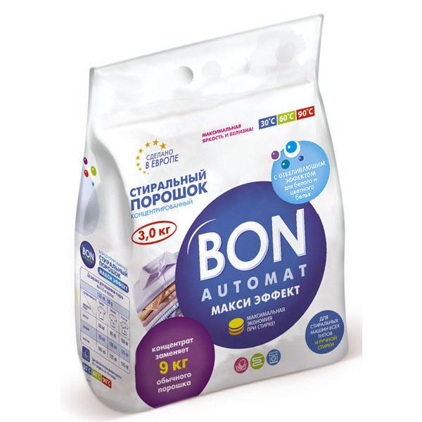 Стиральный порошок Bon Automat Макси Эффект, концентрированный, с отбеливающим эффектом, 3 кгBN-129