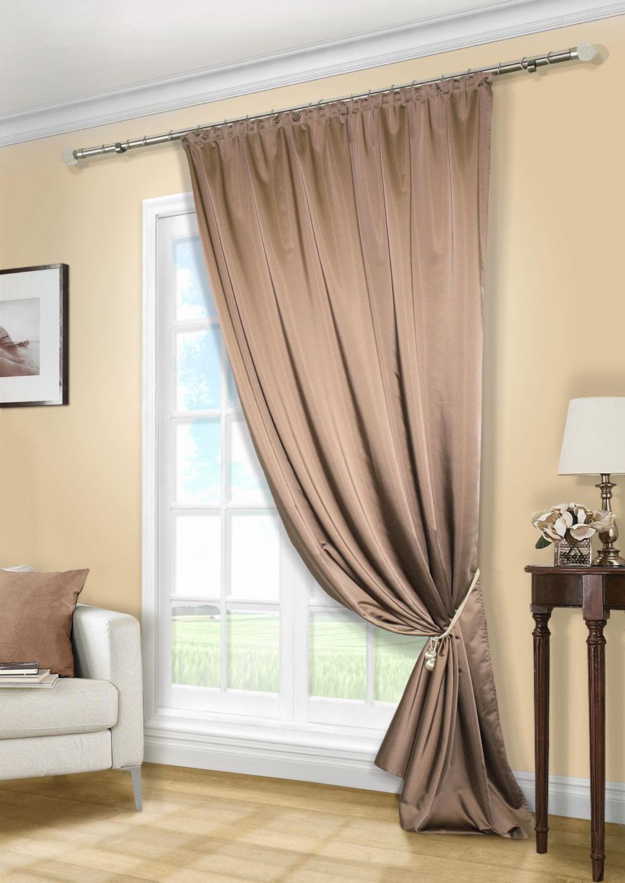 Штора KauffOrt Линд, на ленте, цвет: темно-коричневый, высота 280 смUN111888636Роскошная штора Kauffort Линд выполнена из приятного на ощупь полиэстера. Материалплотный, с мягким блеском, шелковистый. Полотно шторы надежно защищает комнату отсолнечного света днем и от уличного освещения вечером.Оригинальная текстура ткани ияркая цветовая гамма привлекут к себе внимание и органично впишутся в интерьер помещения.Эта штора будет долгое время радовать вас и вашу семью! Штора крепится на карниз при помощи ленты, которая поможет красиво и равномернозадрапировать верх.