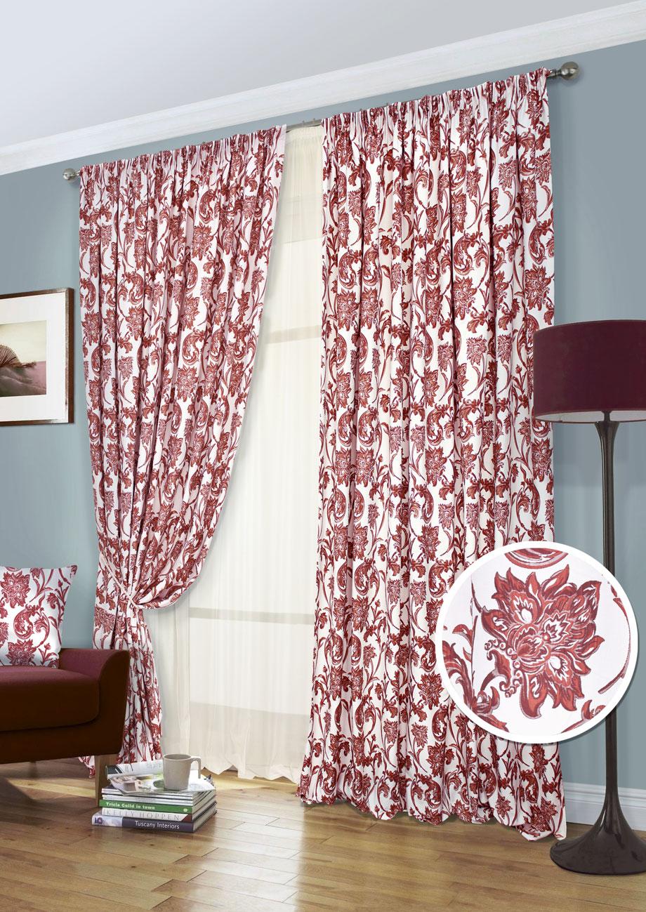 Комплект штор Kauffort Руан-С, на ленте, цвет: красный, высота 280 см. UN123152675UN123152675Роскошный комплект штор Kauffort Руан-С, выполненный из полиэстера, великолепно украсит любое окно. Комплект состоит из 2 штор и тюля. Изделия выполнены из мягкой ткани с красивыми узорами в виде цветов.Тонкое плетение, оригинальный дизайн и нежная цветовая гамма привлекут к себе внимание и органично впишутся в интерьер комнаты. Все предметы комплекта - на шторной ленте для собирания в сборки.